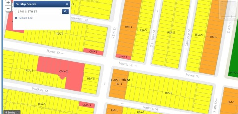1705 S 5th St Zoning Map