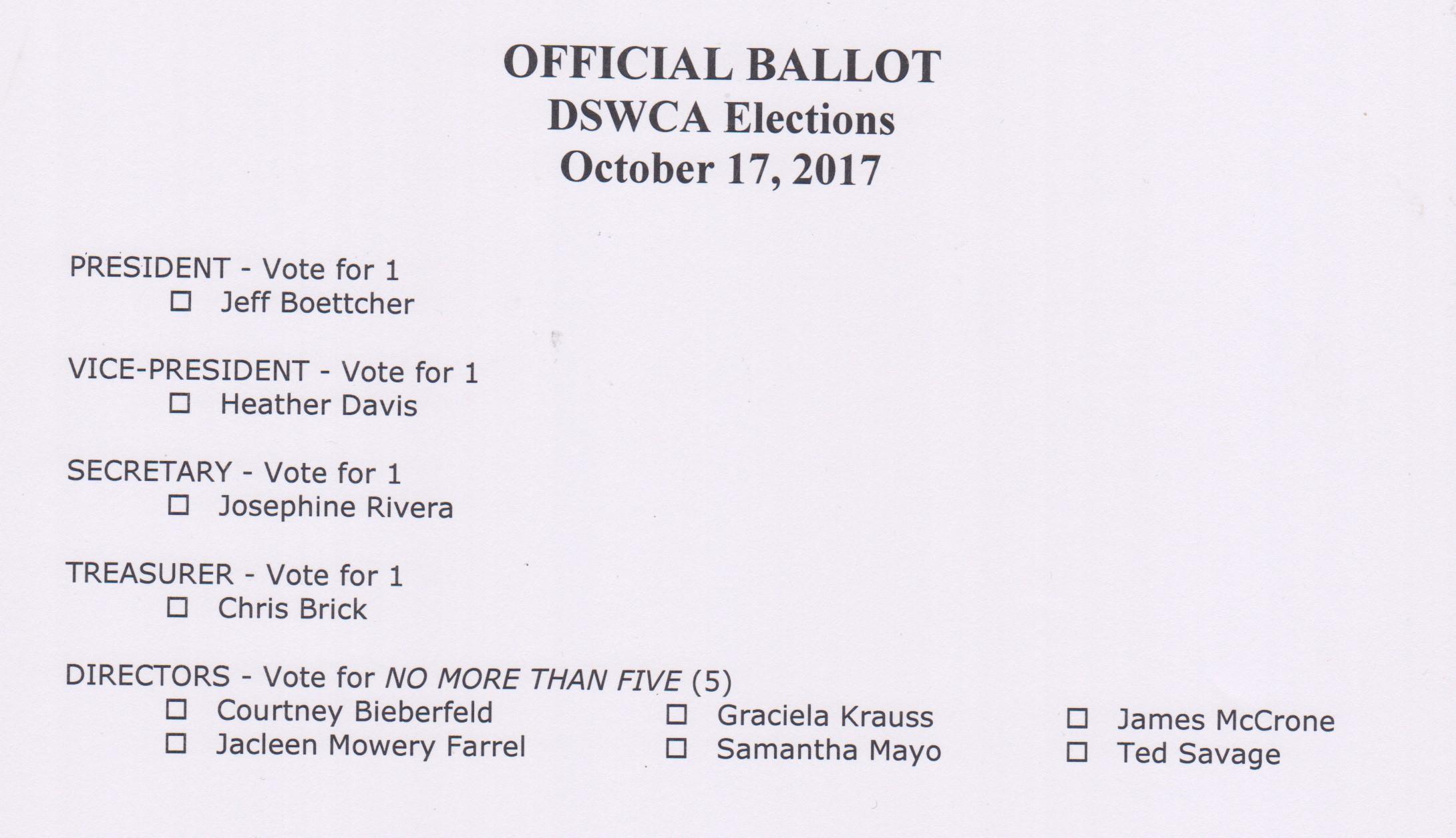 2017 election Ballot